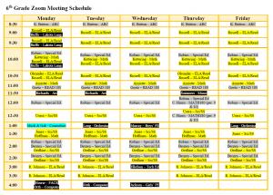 6th Grade Zoom Schedule