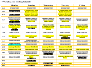 7th Grade Zoom Schedule