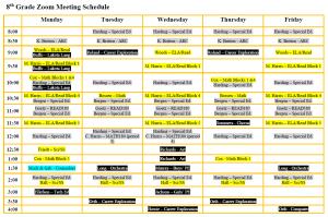 8th Grade Zoom Schedule