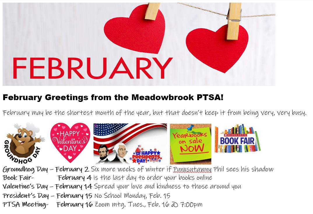 Feb newsletter greetings from PTSA